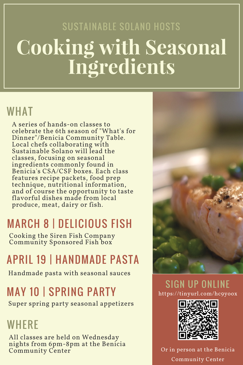 Sustainable Solano Presents: Cooking with Seasonal Ingredients @ Benicia Community Center, Kitchen