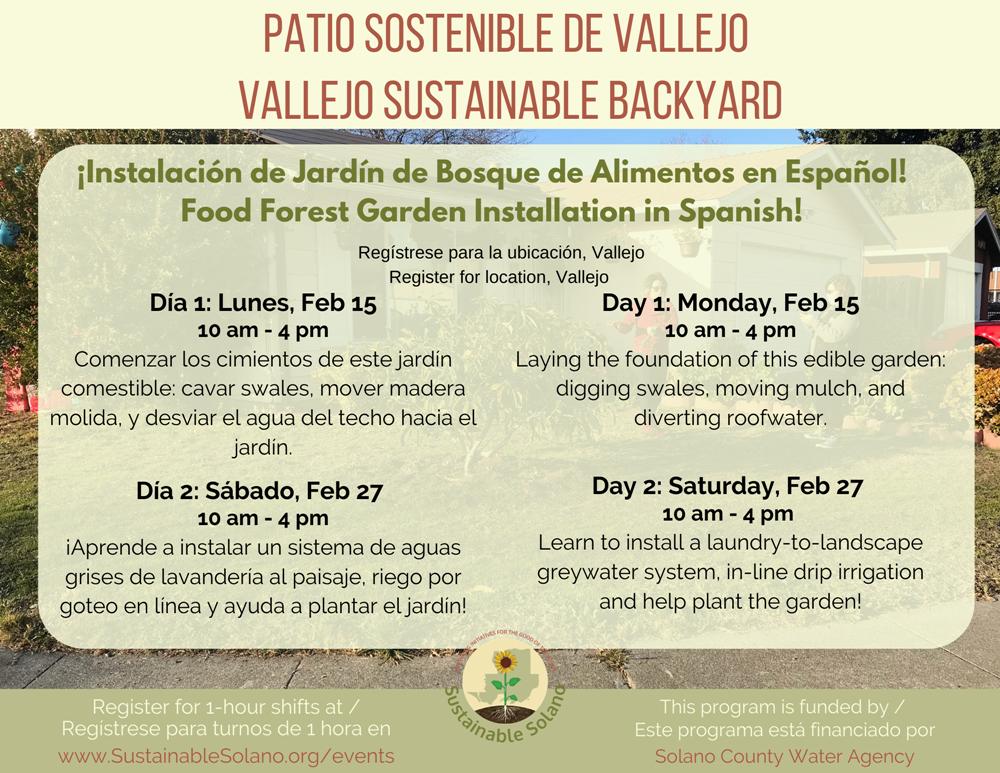 Instalación de Jardín Bosque de Alimentos en Español / Bilingual Installation Workshop Planned in Vallejo @ Register for address
